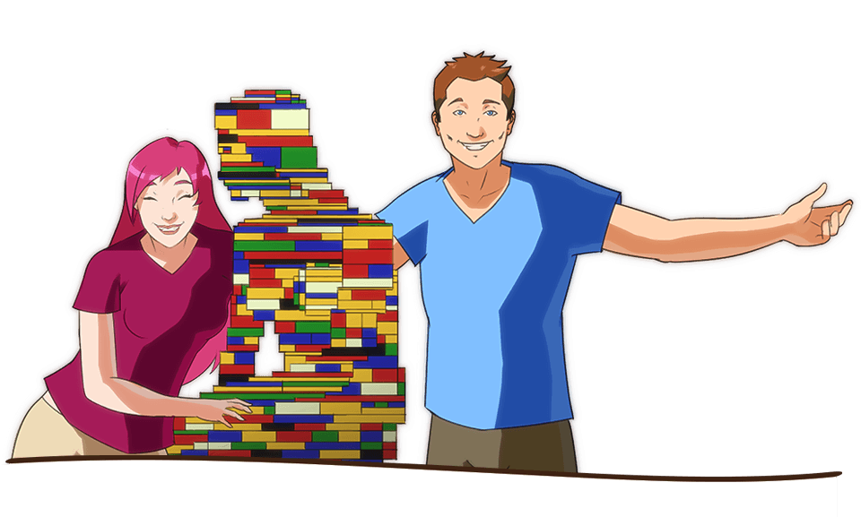 Enjoy the student life when you study in Denmark. Here's an illustration of two students creating a Lego like Little Mermaid in Denmark.