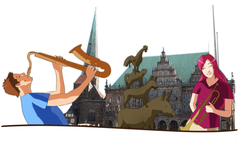 Enjoy the student life when you study in Germany. Here's an illustration of two students playing music by the statue of the Town Musicians of Bremen in Germany.