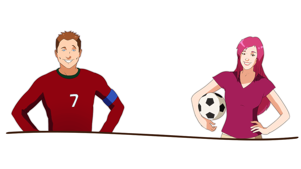 Enjoy the student life when you study in Portugal. Here's an illustration of two students playing football in Portugal.