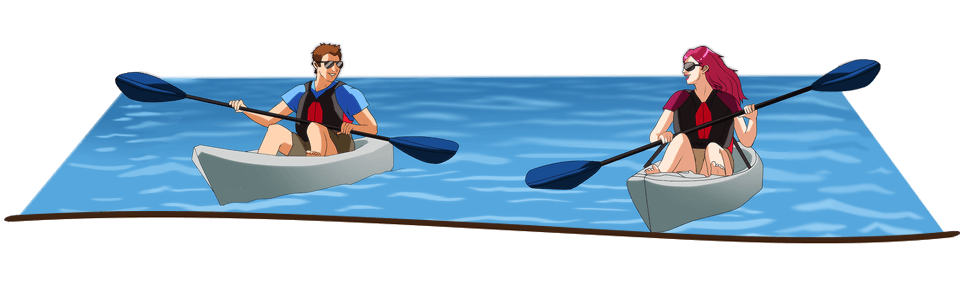Enjoy the student life when you study in Slovenia. Here's an illustration of two students kayaking in Slovenia.