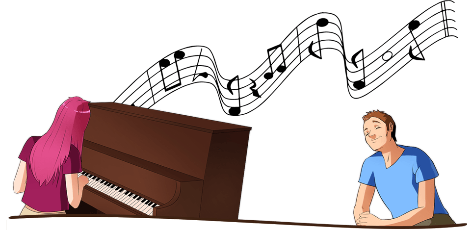 Enjoy the student life when you study in Austria. Here's an illustration of two students playing piano in Austria.