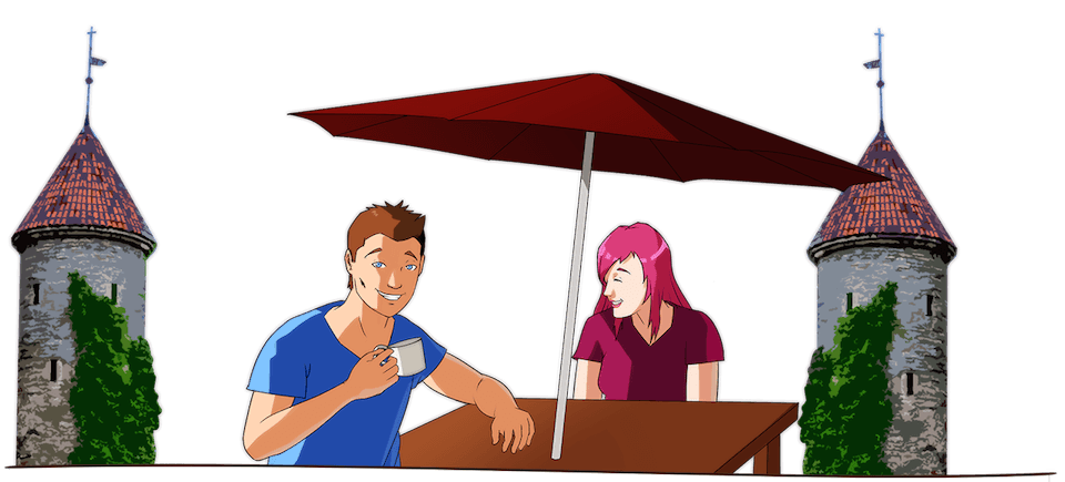 Enjoy the student life when you study in Estonia. Here's an illustration of two students enjoying a coffee in Tallinn, Estonia.