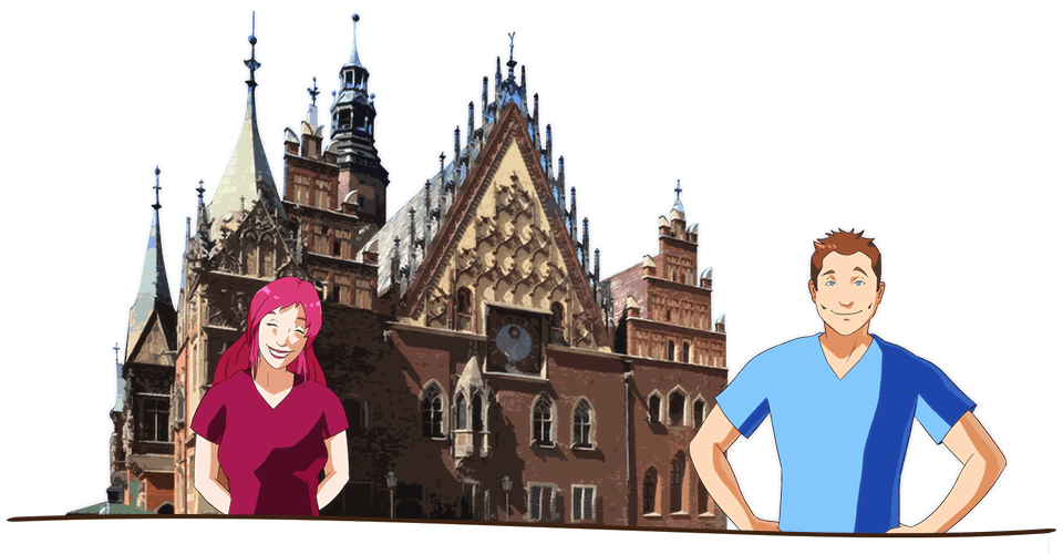 Enjoy the student life when you study in Poland. Here's an illustration of two students enjoying the beautiful architecture in Dolnoslaskie Voivodship, Poland.