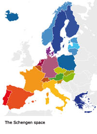 Map of Europe showing the countries where a Schengen Visa is required